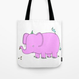 Pink Elephant Birthday Party Tote Bag