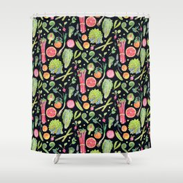 Spring Harvest Pattern Dark Shower Curtain