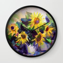 Still Life with Sunflowers Wall Clock