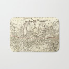 Map of the Continental Railroad Route (1873) Bath Mat