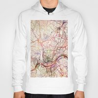 cincinnati Hoodies featuring Cincinnati by MapMapMaps.Watercolors