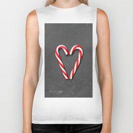 Love Peppermint Heart (Color) Biker Tank