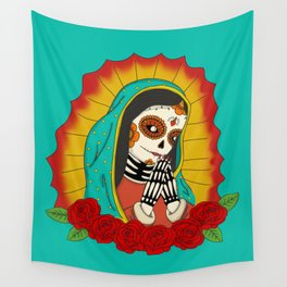 Virgin de Guadalupe Sugar Skull Wall Tapestry