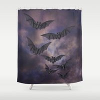 bats Shower Curtains featuring midnight bats by Sarah Knight