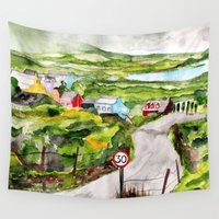 ireland Wall Tapestries featuring Ireland by KS Art & Design
