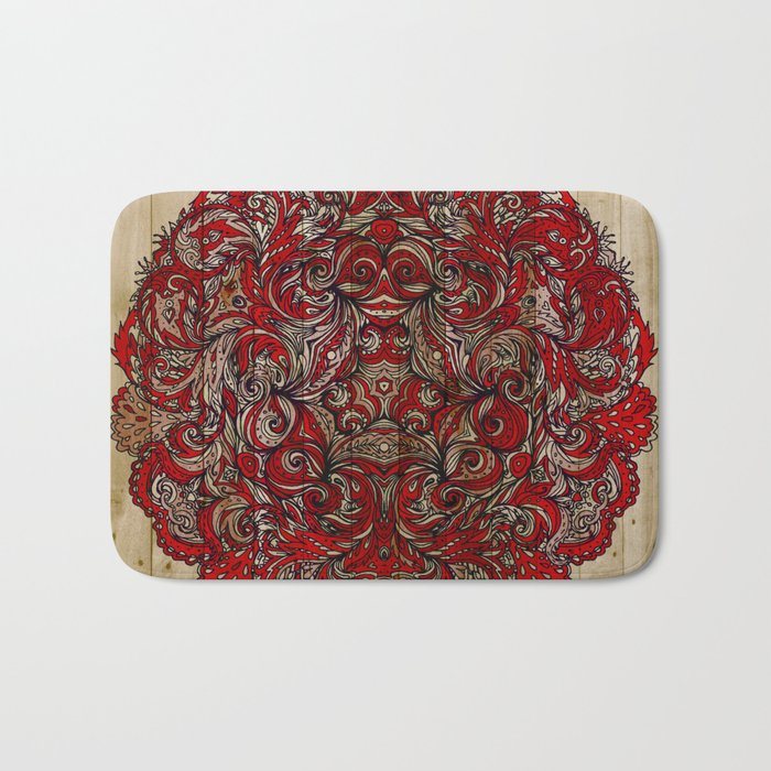 Red Indian Mandala on Wood Bath Mat