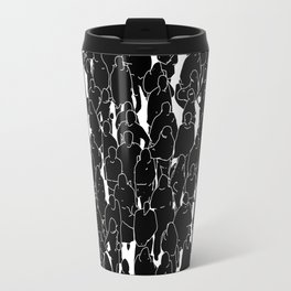 Public assembly B&W inverted / Lineart people pattern Travel Mug
