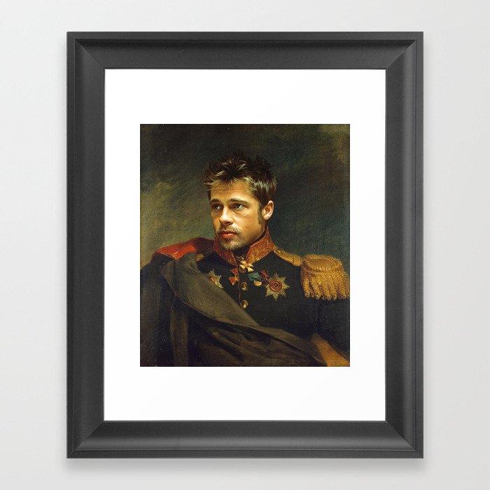 Brad Pitt - replaceface Framed Art Print
