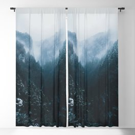 Foggy Forest Mountain Valley - Landscape Photography Blackout Curtain