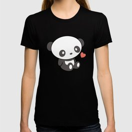 Kawaii Cute Panda With Heart T-shirt