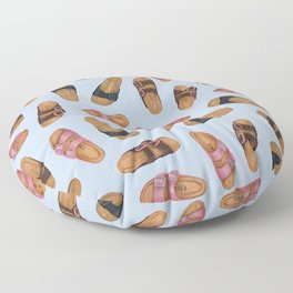 Birkenstocks Sandals Pattern | Pastel Blue Birkenstocks | Watercolor design pattern Floor Pillow