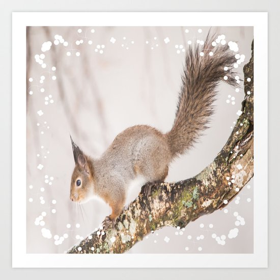 Little squirrel jumping on the branch Art Print