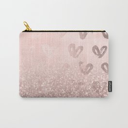 Rose Gold Sparkles on Pretty Blush Pink with Hearts Carry-All Pouch
