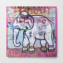 Pink elephant, colourful exotic Indian animal print Metal Print