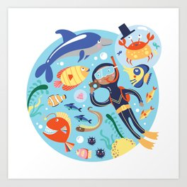 Under The Sea with a Diver Art Print