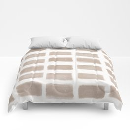 Brush Strokes Horizontal Lines Nude on Off White Comforters