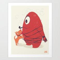 Cyclopes Monster Blob & Orange Dog Art Print