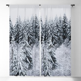 Winter Trees III - Snow Capped Forest Adventure Nature Photography Blackout Curtain