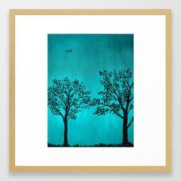 Teal Silhouette Framed Art Print
