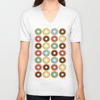 donuts V-neck T-shirts featuring Donuts!! by Ron Trickett