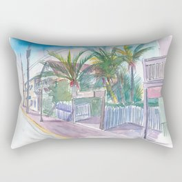 Blue Heaven Thomas St Patio Key West Florida Rectangular Pillow