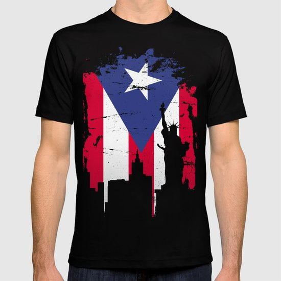 New York And Puerto Symbol Merged T-shirt by homeoftshirts