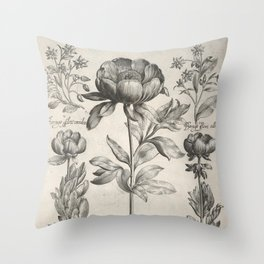 Antique floral black and white chinoiserie flower vintage Paris flowers French botanical goth print Throw Pillow