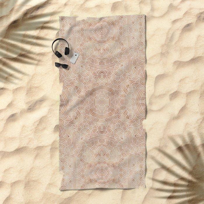 Iced coffee and white swirls doodles Beach Towel