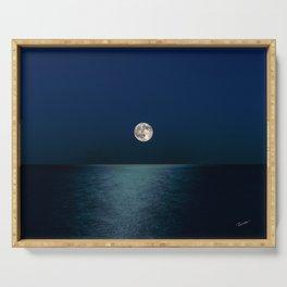 Moon Rising Over Lake Michigan Serving Tray