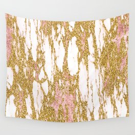 Gold Marble - Intense Glittery Yellow and Rose Gold Marble Wall Tapestry