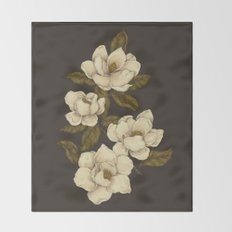Magnolias Throw Blanket