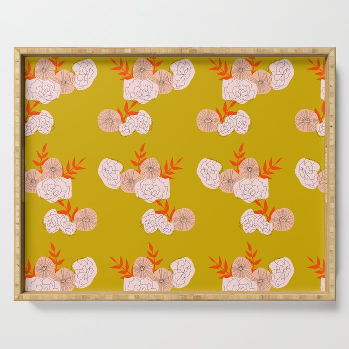 Vintage Ochre Florals Serving Tray