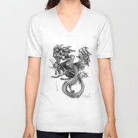 tomb raider V-neck T-shirts featuring Raider by Rosanna P. Brost