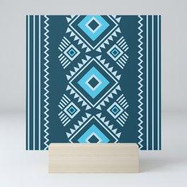 Blue geometric pattern Mini Art Print