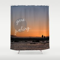 dad Shower Curtains featuring Gone fishing with dad by Light Wanderer Art & Photography
