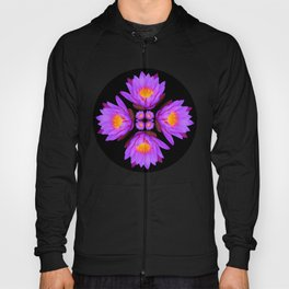 Purple Lily Flower - On Black Hoody