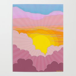 Sixties Inspired Psychedelic Sunrise Surprise Poster