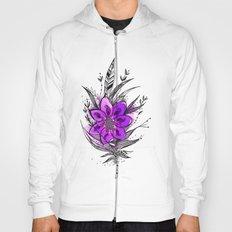 Purple Flower Feather Hoody