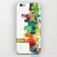 oklahoma iPhone & iPod Skins featuring Oklahoma City, Oklahoma skyline SP by Marlene Watson