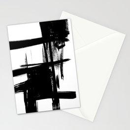 Black Brush Strokes Modern Minimalist Abstract Painting Art, nr 12 Stationery Cards