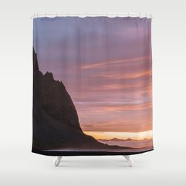Sunrise at Stokksnes mountain beach in Iceland - Landscape Photography Shower Curtain