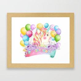 Happy Birthday Unicorn Party Framed Art Print