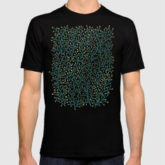 Berry Branches – Turquoise & Gold Mens Fitted Tee MEDIUM Black