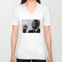 mandela V-neck T-shirts featuring Mandela tribute by WAMTEES