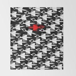 Migration Black and White Bird Pattern Throw Blanket