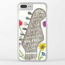 You belong among the wildflowers. Tom Petty quote. Watercolor guitar illustration. Hand lettering. Clear iPhone Case