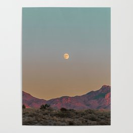 Sunset Moon Ridge // Grainy Red Mountain Range Desert Landscape Photography Yellow Fullmoon Blue Sky Poster