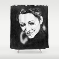 cigarette Shower Curtains featuring Marion's Cigarette by Elena Lev