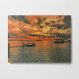 Original artwork - Sunset on the river Metal Print