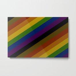 Rainbow Pride Stripes - Black & Brown Metal Print